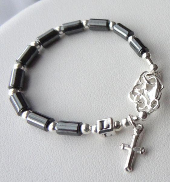 Sterling Silver Baby Boy Baptism Personalized Rosary Bracelet, Christening boy Bracelet Bracelet, Boy Bracelet