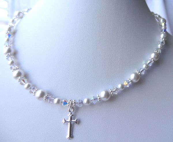 Christening Cross Swarovski Crystal Pearls Necklace, Baptism Necklace, First Communion, Confirmation, Flower Girl Necklace