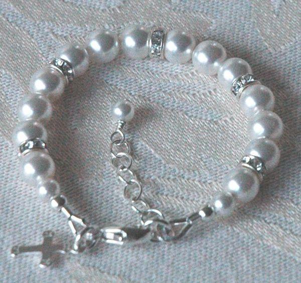 Baby Swarovski Crystal Pearl Cross and Rondelle Bracelet, Baptism Bracelet, First Communion Bracelet, Baby Pearl Bracelet, Cross Bracelet