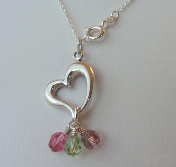 Sterling Silver Mothers Birthstone Necklace, Family Necklace, Grandmother, Mom, Nana, Mommy, Nanny Necklace, Birthstone Necklace