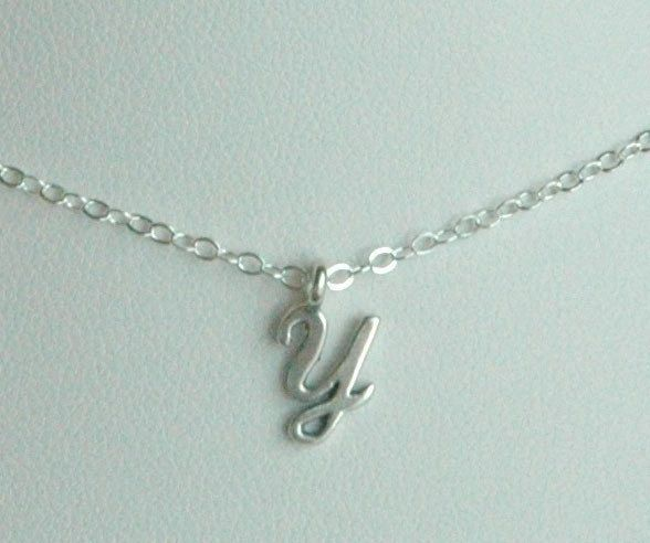 Petite Sterling Silver Initial Charm Children Necklace, Monogram, Initial Necklace,