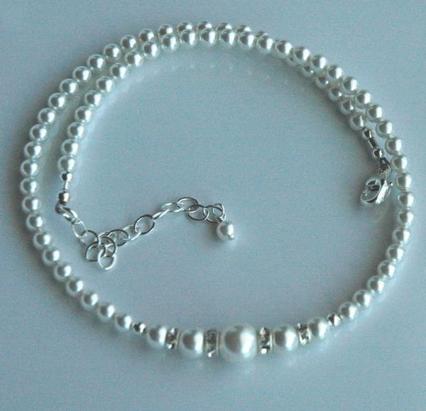 Flower Girl Necklace --- Swarovski Crystal Pearl and Rondelle Necklace, Flower Girl Set Gift