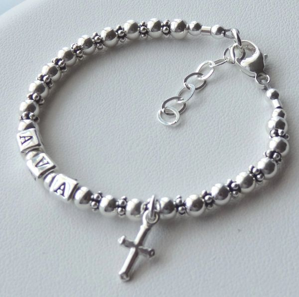 BOY - GIRL- Solid Sterling Silver Children Boy Name Bracelet, Boy Bracelet,Personalized Baby Boy Name Bracelet , Baptism, Cross Bracelet