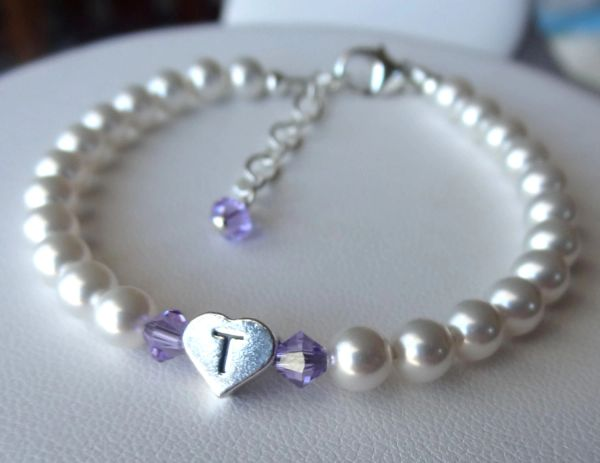 Sterling Silver Initial Heart Custom Children Bracelet, Flower Girls, Baptism, Christening, First Communion, Confirmation