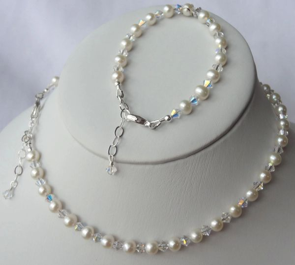 Sterling Silver Freshwater Pearl and Swarovski Crystal Children Bracelet and Necklace -SET, Flower Girls SET, First Communion