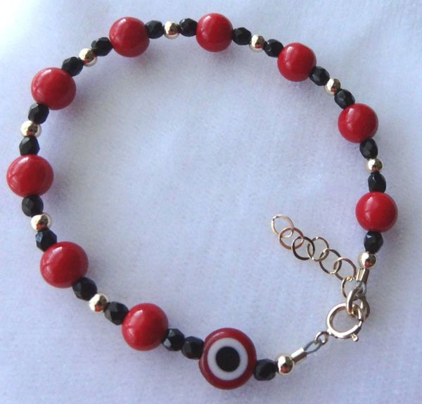 Gold Red Coral and Black Evil Eye Crystal Children Bracelet, Baby Boy Bracelet, Baby Protection Bracelet, Baptism, Red and Black