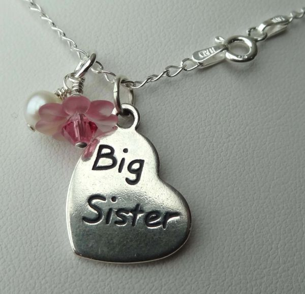 Sterling Silve Resin Flower and Freshawater Pearl Dangle Big Sister / Little Sister Charm Necklace, Big Sis, Lil Sis