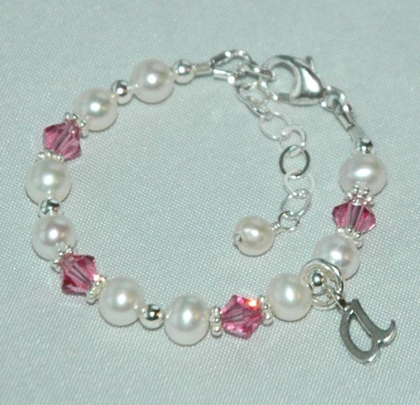 Birthstone Initial and Number Children Bracelet, Birthday Present, Baptism, Confirmation, Christening, Confirmation