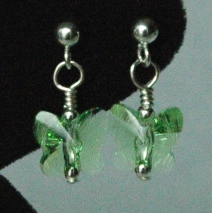 Swarovski Crystal Peridot Butterfly Earrings, August Birthstone Earrings, Light Green Butterfly Earrings