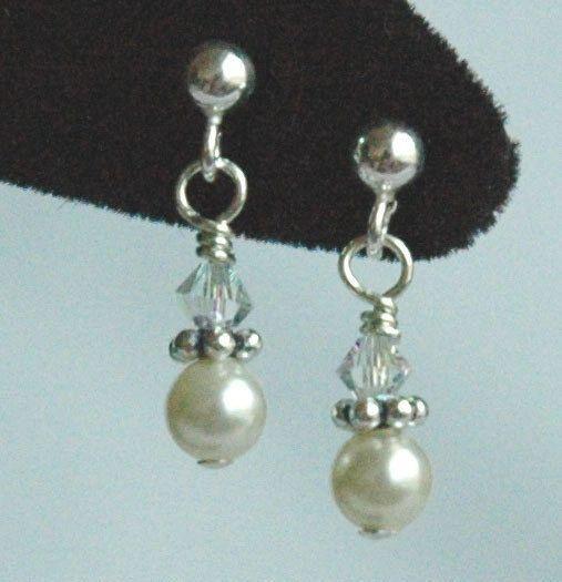 Sterling Silver Swarovski Crystal White, Light Pink, Light Blue, Cream/Ivory Pearl Children Earrings, Flower Girls, Post, Stud, Tiny