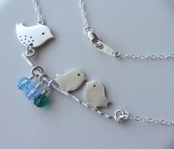 Mommy and Babies Bird Necklace, Birthstone Necklace, Family Birthstone necklace, Family Necklace,