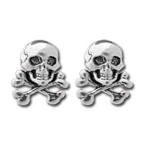 Sterling Silver Skull Crossbones Stud Earrings, Skull Earrings, Crossbones Earrings