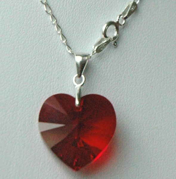 Crystal Heart Necklace, Sterling Silver Swarovski Crystal Children Heart Necklace,Heart Necklace, Pink Heart Necklace