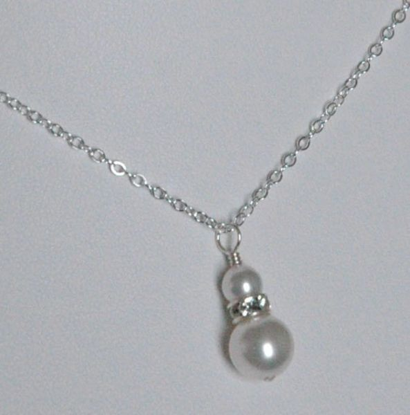 Swarovski Crystal Pearl Round Necklace, Bridesmaid Necklace, Flower Girl Necklace, Junior Bridesmaids Necklace, First Communion Necklace