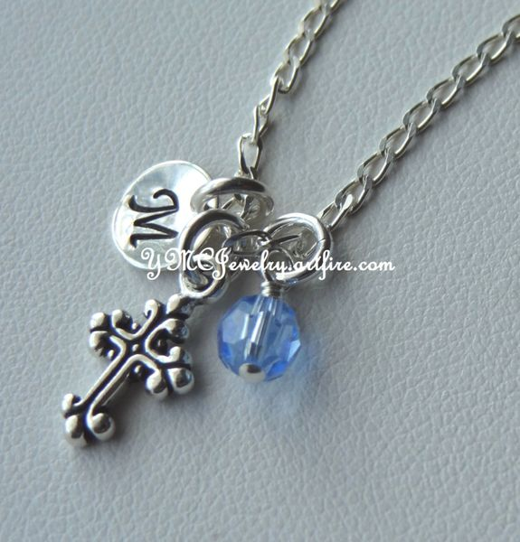 Sterling Silver Fancy Small Cross, Freshwater Pearl and Stamped Initial Pendant, Initial Letter, Birthstone Necklace, First Communion