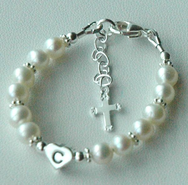 Sterling Silver Initial Heart Freshwater Pearl With Dangle Cross Custom Children Bracelet