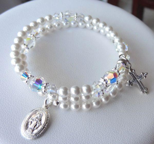 Children Rosary Bracelet, Sterling Silver Pearl Rosary Bracelet, Five Decade Wrap Rosary, First Communion, Memory Wire Rosary Bracelet