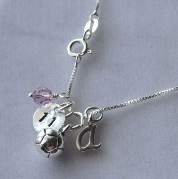 Sterling Silver Personalized Soccer Ball Necklace, Birthstone Necklace, Birthstone, Sports Jewelry, Personalized Jewelry, Football Soccer