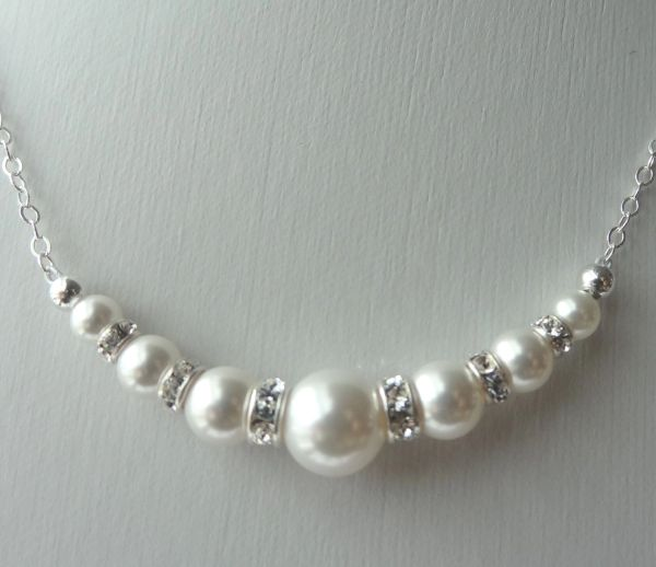 Swarovski Crystal Rhinestone Pearl Round Necklace, Bridesmaids Gift Necklace, Bride Bridal Necklace, Junior Bridesmaids
