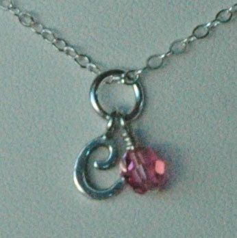 Sterling Silver Monogram Baby Children Custom Initial Pendant Necklace, Birthstone Necklace, Initial Necklace