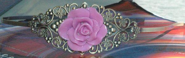 Purple Rose Resin Antique Bronze Filigree Floral Headband