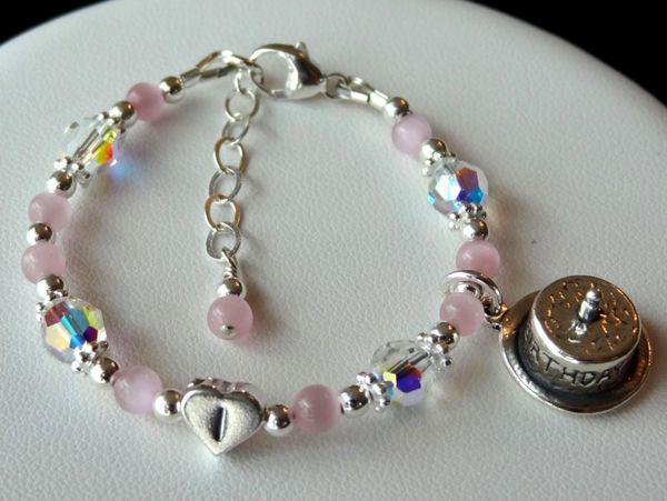 Happy Birthday Bracelet- Sterling Silver Heart initial Bracelet, Third Birthday Children Bracelet, First Birthday Bracelet, Cat Eye Bracelet