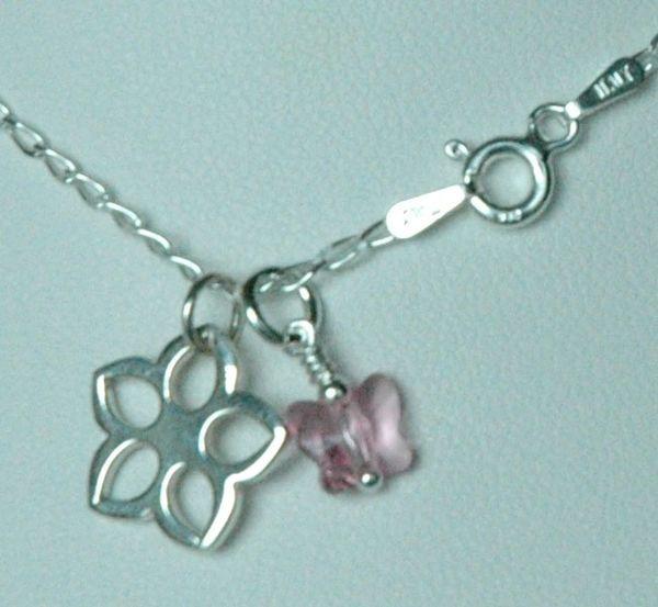 Flower Girl - Serling Silver Flower Charm Necklace, Flower Girl Necklace, Butterfly Necklace