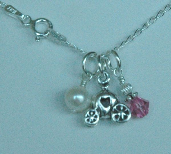 Sterling Silver Princess Carriage Charm Necklace