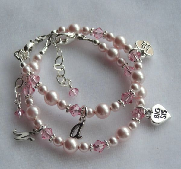 SET TWO Big Sister/Little Sister With Initial Charms Children Bracelet, Heart Big Sis Lil Sis Charm Bracelet