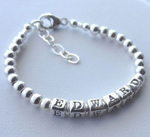 BOY - GIRL --- Solid Sterling Silver Children Boy Name Bracelet, Boy Bracelet,Personalized Baby Boy Name Bracelet , Baptism,