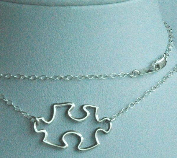 Sterling Silver Puzzle Piece Link Necklace, Sterling Silver Puzzle Jewelry, Autism Necklace, Autism Awareness