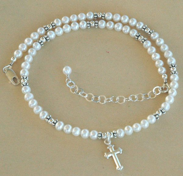 Pearl Cross Necklace, Baptism Necklace, First Communion Necklace, Confirmation Necklace, Flower Girl Necklace, Christening Necklace,