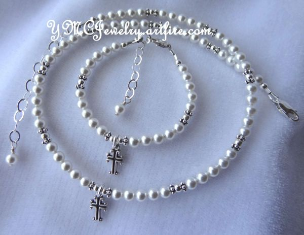 Pearl Cross Necklace/Bracelet SET, Baptism Necklace,First Communion Necklace,Confirmation Necklace,Flower Girl Necklace,Christening Necklace
