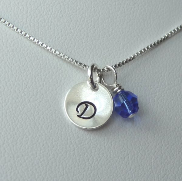 Sterling Silver Initial and Birthstone Charm Necklace, Personalized Initial Necklace, Birthstone Necklace, Hand Stamped Jewelry Necklace