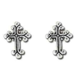 Sterling Silver Small Fancy Cross Stud Post Earrings, Cross Earrings, First Communion Earrings, Confirmation Earrings, Cross Stud Earrings