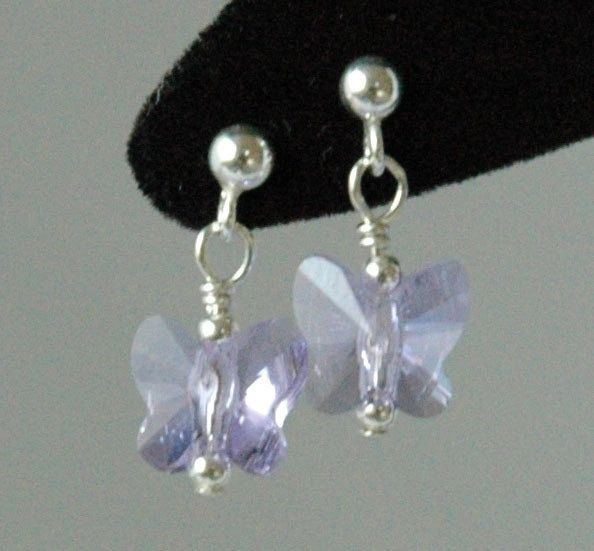 Violet Butterfly Earrings, Crystal Butterfly Earrings, Light Purple Earrings, Earrings, Flower Girl Earrings, Post Earrings