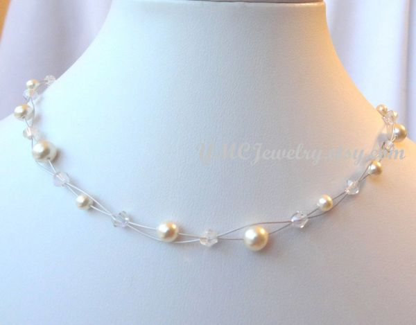 Double Strand Swarovski Crystal Pearl Children Necklace, Illusion Pearl Necklace, Flower Girl Necklace, Junior Bridesmaid Necklace