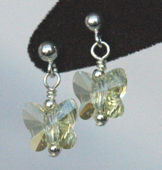 Light Yellow - Jonquil Butterfly Earrings, Butterfly Earrings, Crystal Butterfly Earrings, Light Yellow Earrings