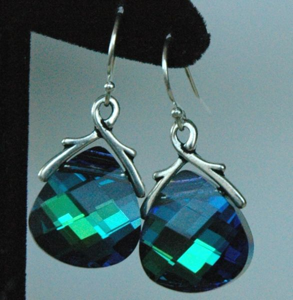 Large - Swarovski Crystal Aquamarine Green Sphinx Briolette Earrings, Bridesmaids Gift Set Jewelry Earrings