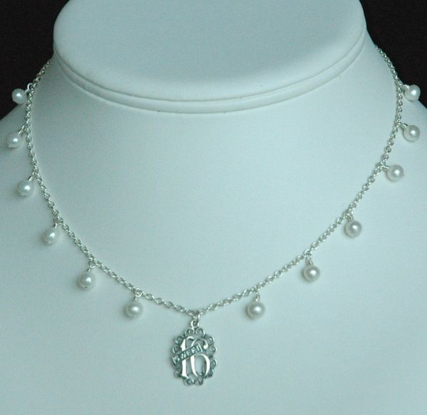 Freshwater Pearls and Sweet 16 Pendant Necklace