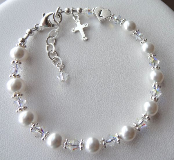 Confirmation - Rosary Pearl Bracelet, Swarovski Crystal Pearl and Sterling Silver Heart Initial Personalized Children Rosary Bracelet - First Communion Bracele