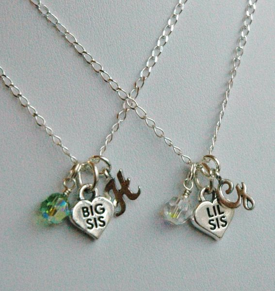 Set of Two Sterling Silver Big Sister/Lil Sister Birthstone Initial Children Girl Necklaces, Initial Monogrammed Necklace, Birthstone