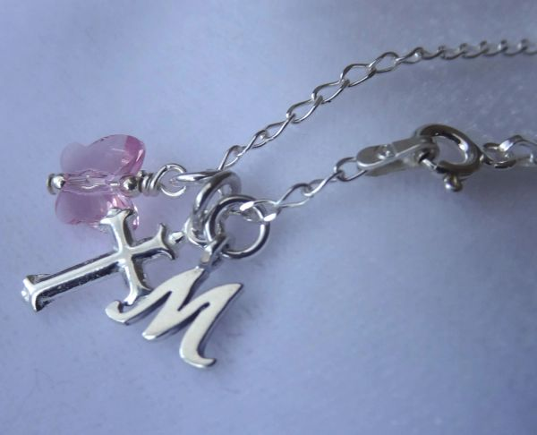 Confirmation - Sterling Silver Cross Pendant, Initial Letter, Light Pink Butterfly Necklace, First Communion