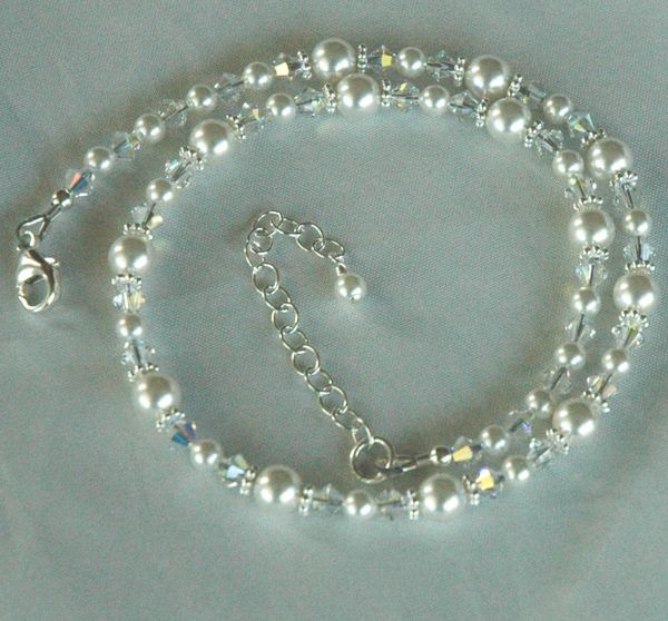 Princess Child Flower Girls Swarovski Crystal Pearl Necklace, Flower Girl Necklace, Baptism Necklace