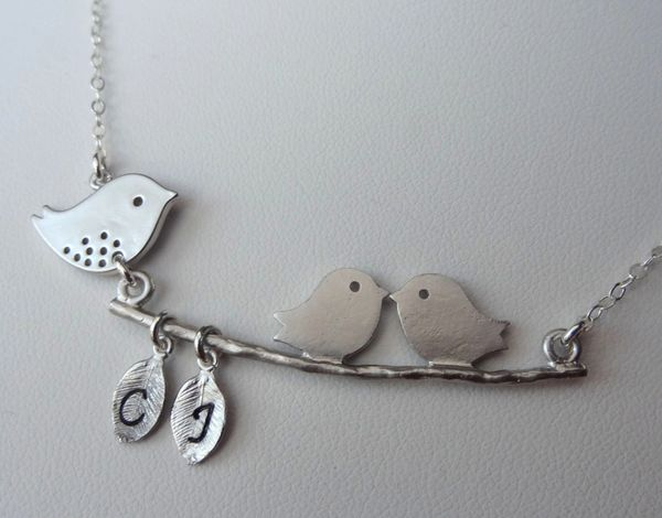 Mommy and Babies Bird Initial Necklace, Family Necklace, Personalized Necklace