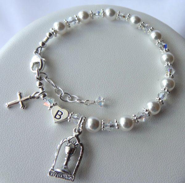 Chalice Bracelet - Swarovski Crystal Pearl Sterling Silver Heart Initial Personalized Children Rosary Bracelet, Rosary Pearl Bracelet, First Communion Bracelet