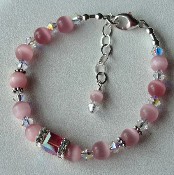Cat Eye and Swarovski Crystal Cube Sterling Silver Children Bracelet