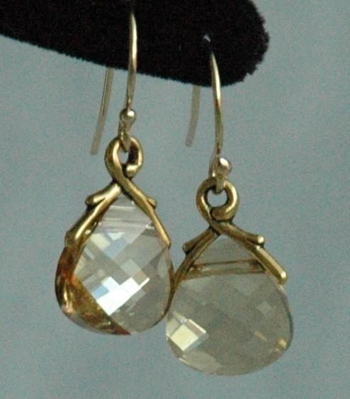 Large - Gold Filled Swarovski Crystal Golden Shadow Earrings