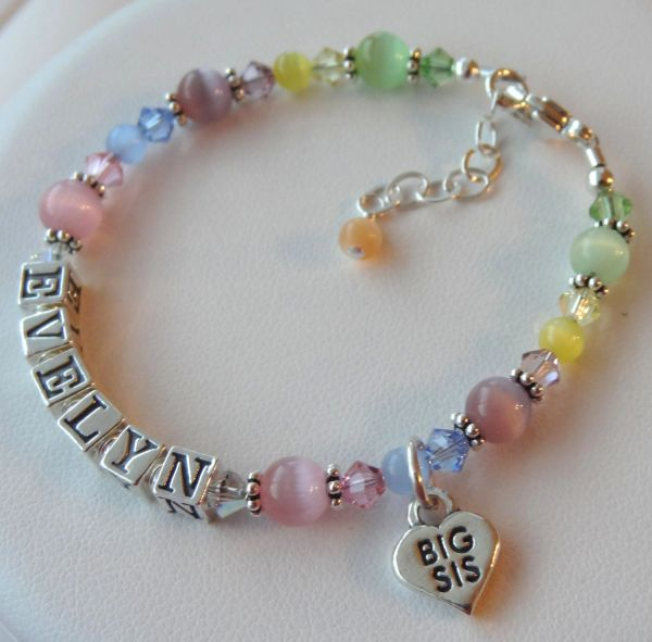 Big Sister, Little Sister Name Children Bracelet, Heart Big Sis Lil Sis Charm Bracelet, Name Bracelet