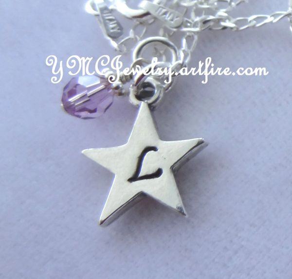 Sterling Silver Personalized Star Necklace, Birthstone Necklace, Initial Necklace, Personalized Bridesmaid Gift, New Mom Mother, Flower Girl